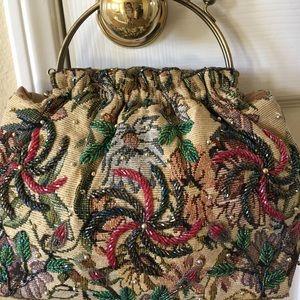 Handbags - Retro floral tapestry beaded metallic bag